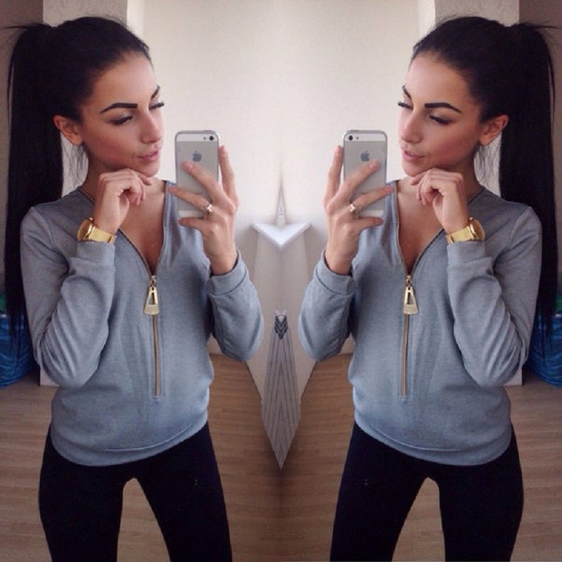 Women Ladies Long Pullover Top Hoodie Sweatshirt Jumper Zipper V-Neck