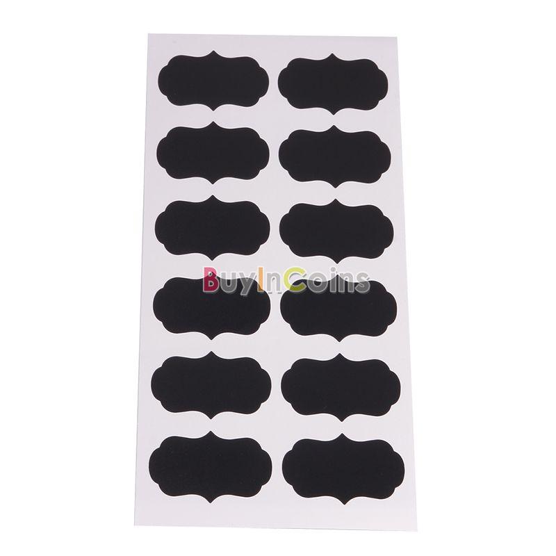 36x Small Chalk Black board Mason Jar Labels Stickers Chalkboard Cheap Unique