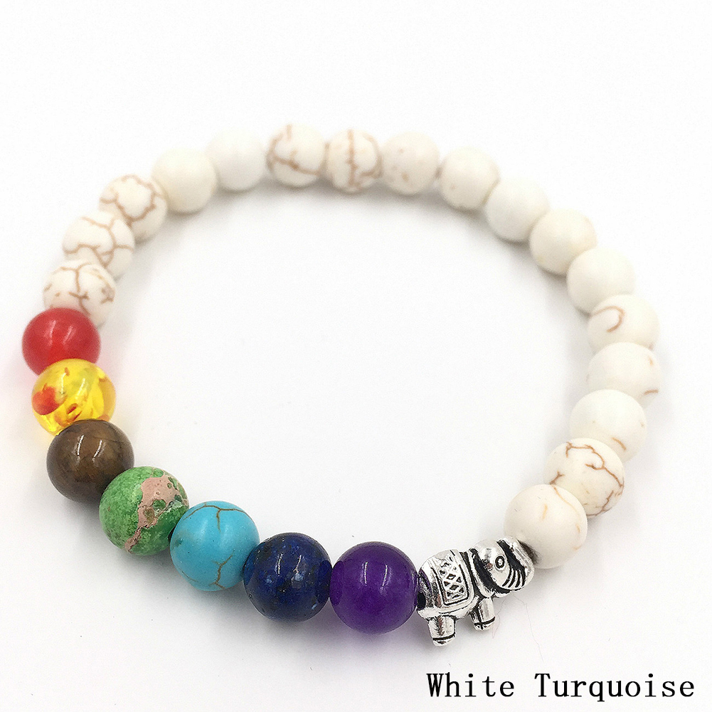 Fashion Elephant Colorful Yoga Energy Healing Crystal Beads Bracelet Matte Agate Jewelry Gift Accessories