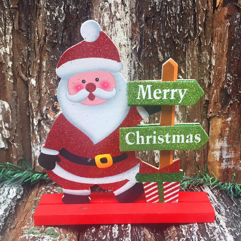 Christmas Decoration Wooden Christmas Santa Claus Snowman Elk Gift