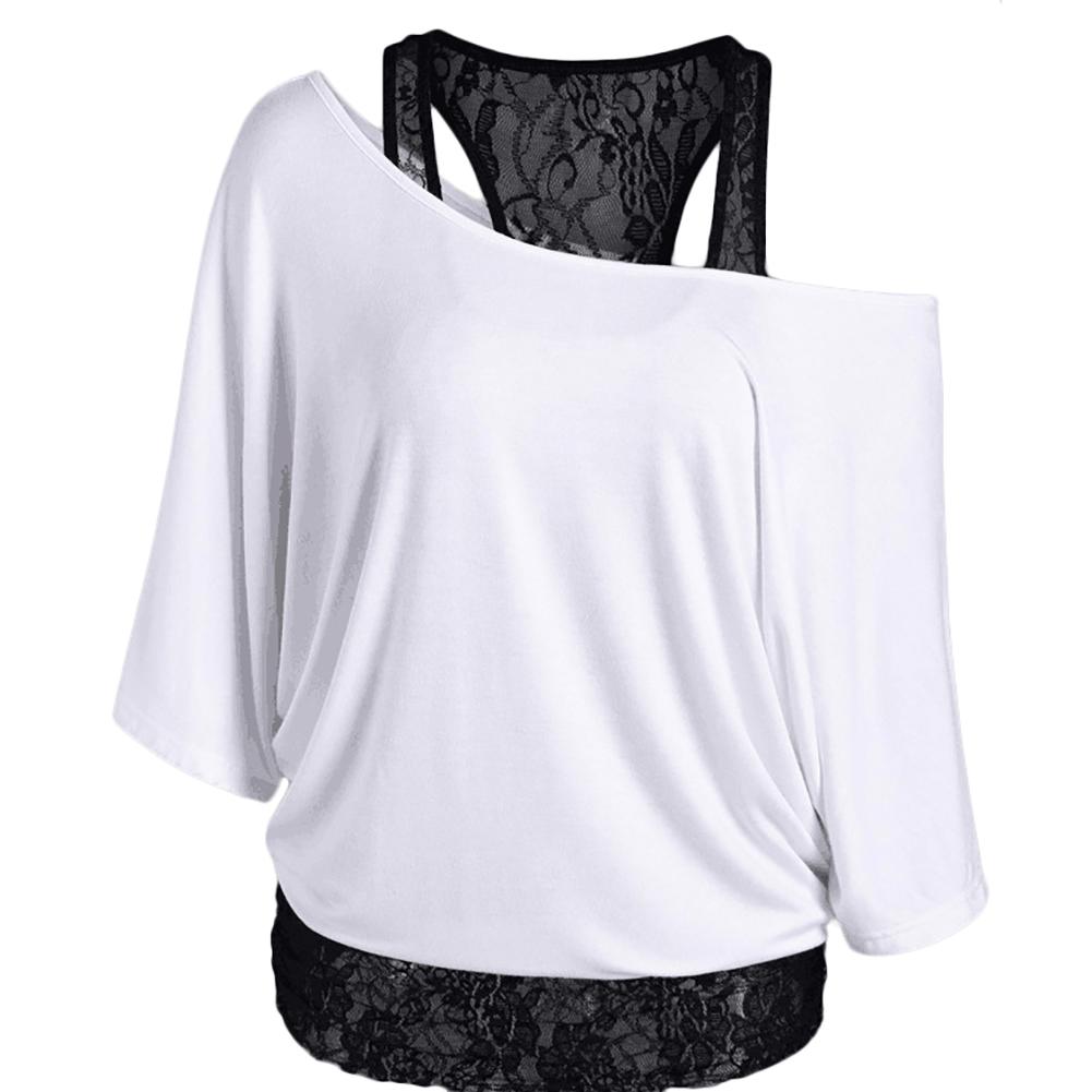 Large Size Women's Loose Vest Lace Stitching Oblique Collar Bat Sleeve Imitation Cotton T-shirt Fashion
