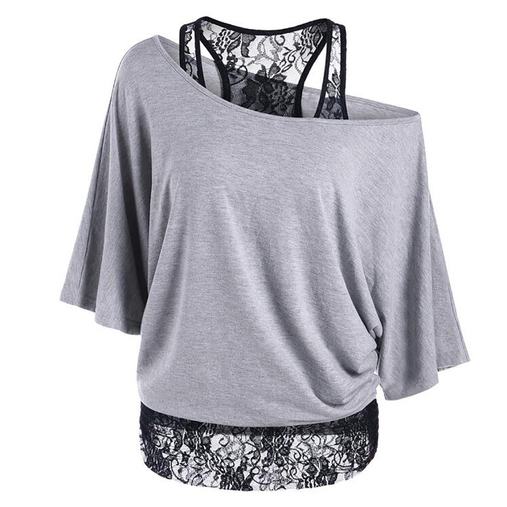 Large Size Women's Loose Vest Lace Stitching Oblique Collar Bat Sleeve Imitation Cotton T-shirt Fashion