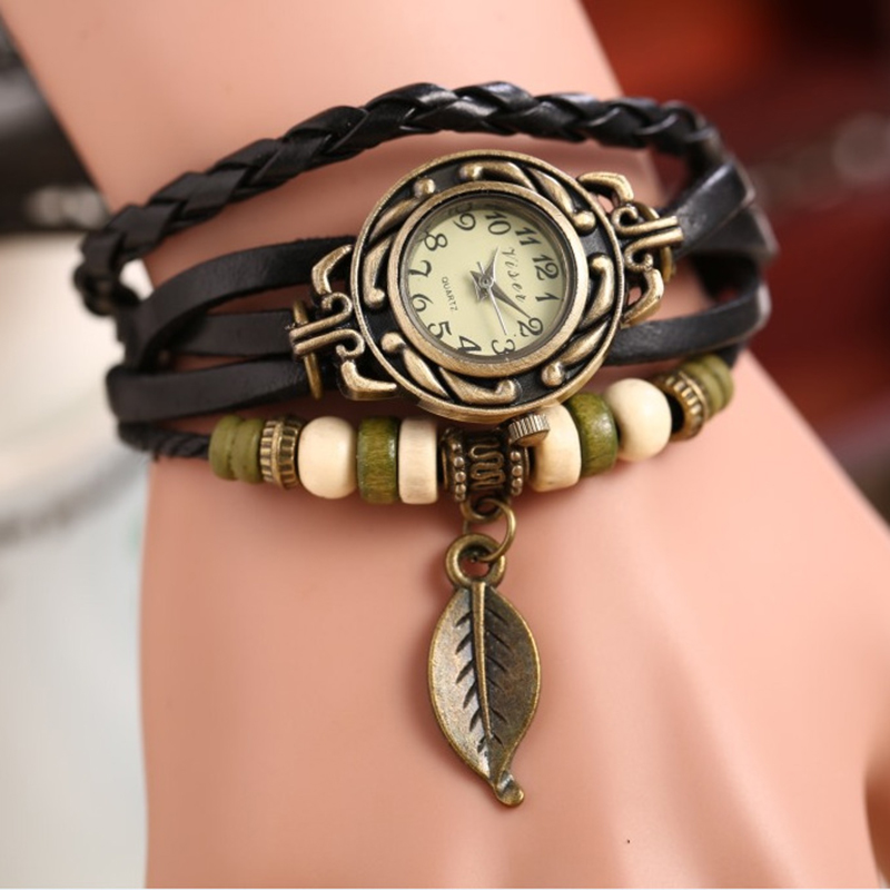 Modern Fashion Retro Lady Handknit Leather Strap Leaves Bracelet Wrist Watch