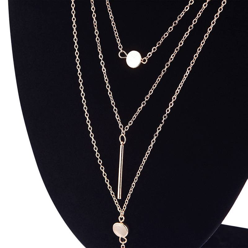 Women Fashion Delicate Metal Bar Pendant 3 Layers Chain Necklace Water Droplets Iron Piece Tassel Necklace