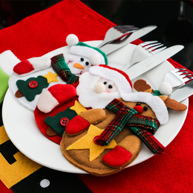 Christmas Snowman And Decorative Cutlery Creative Home Gift Bags Christmas Decorations Table Sets