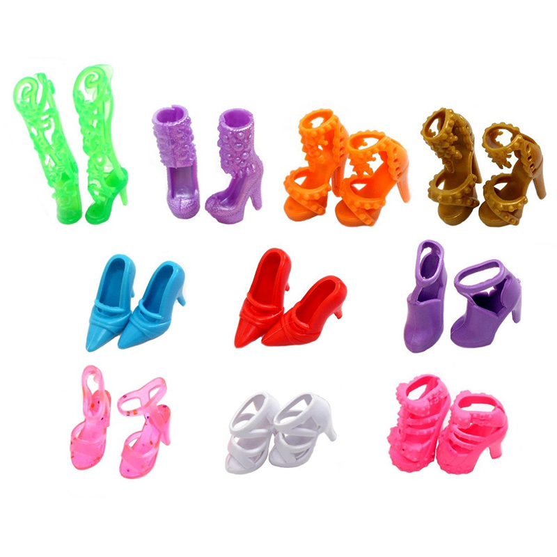 10 Pairs/Set of Doll Toy Shoes Multiple Styles High Heel Sandal For Barbie Doll