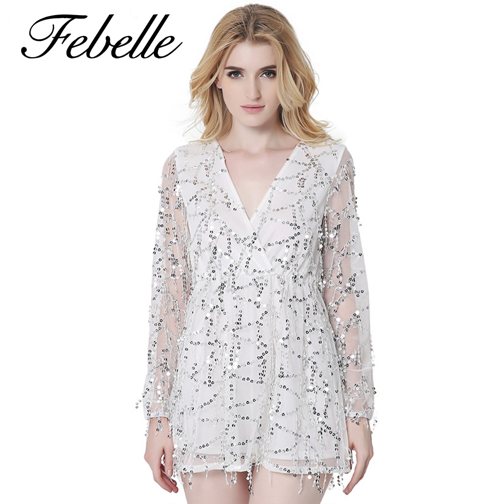 Febelle Women's Plunge V-neck Cocktail Party Dress All-over Sequins Short Mesh Club Dress