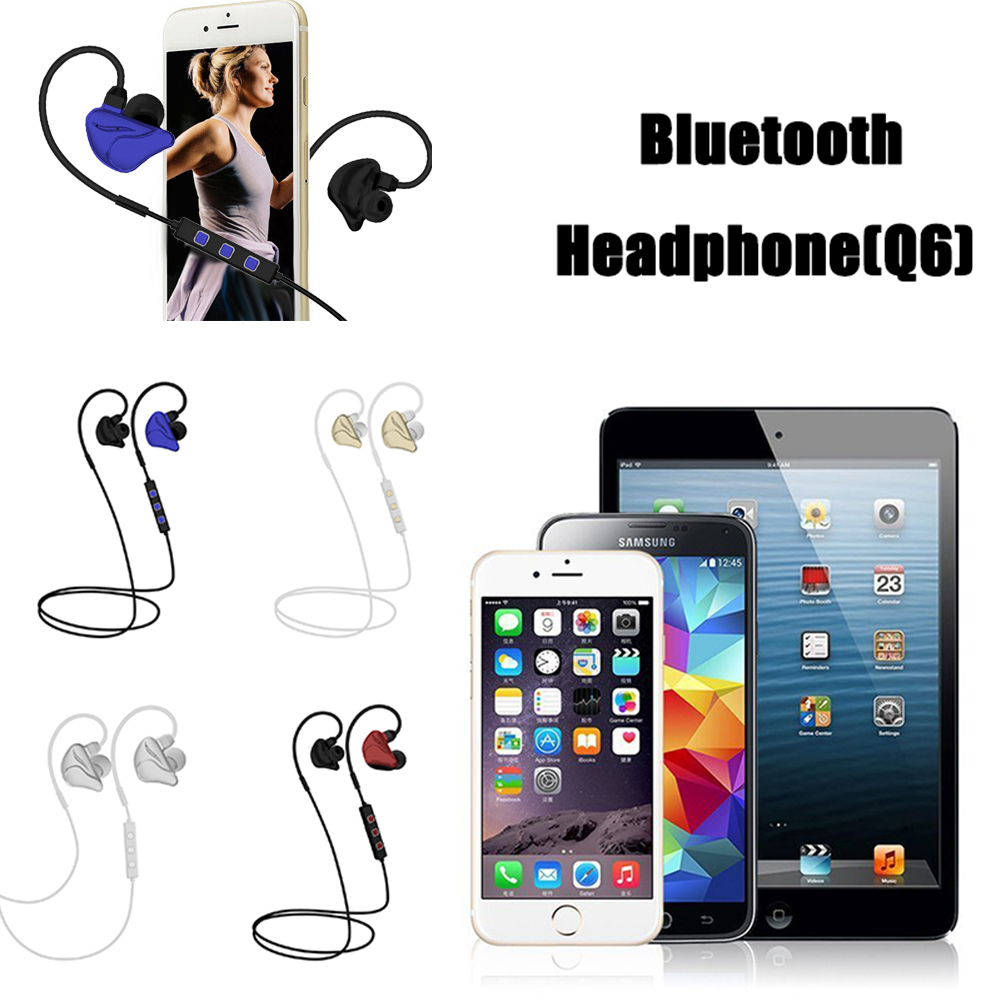 Q6 Wireless Bluetooth Sports Stereo Headphone Headset Earphone Earbuds with MIC For iPhone Smart Phones