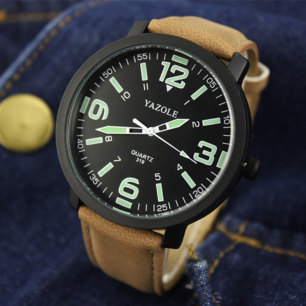 YAZOLE Casual Luminous Women/Men Watch Waterproof Analog Quartz PU Leather Wrist Watches