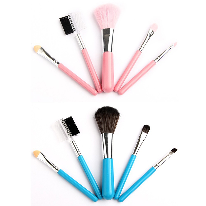 Soft Mini 5Pcs Pink Blue Makeup Eyeshadow Blush Eye & Face Lipstick Brushes Set