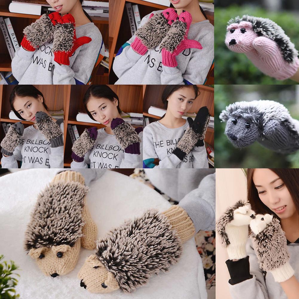 Cartoon Women Girls Warm Winter Mittens Hedgehog Gloves Cute Knitted Cotton