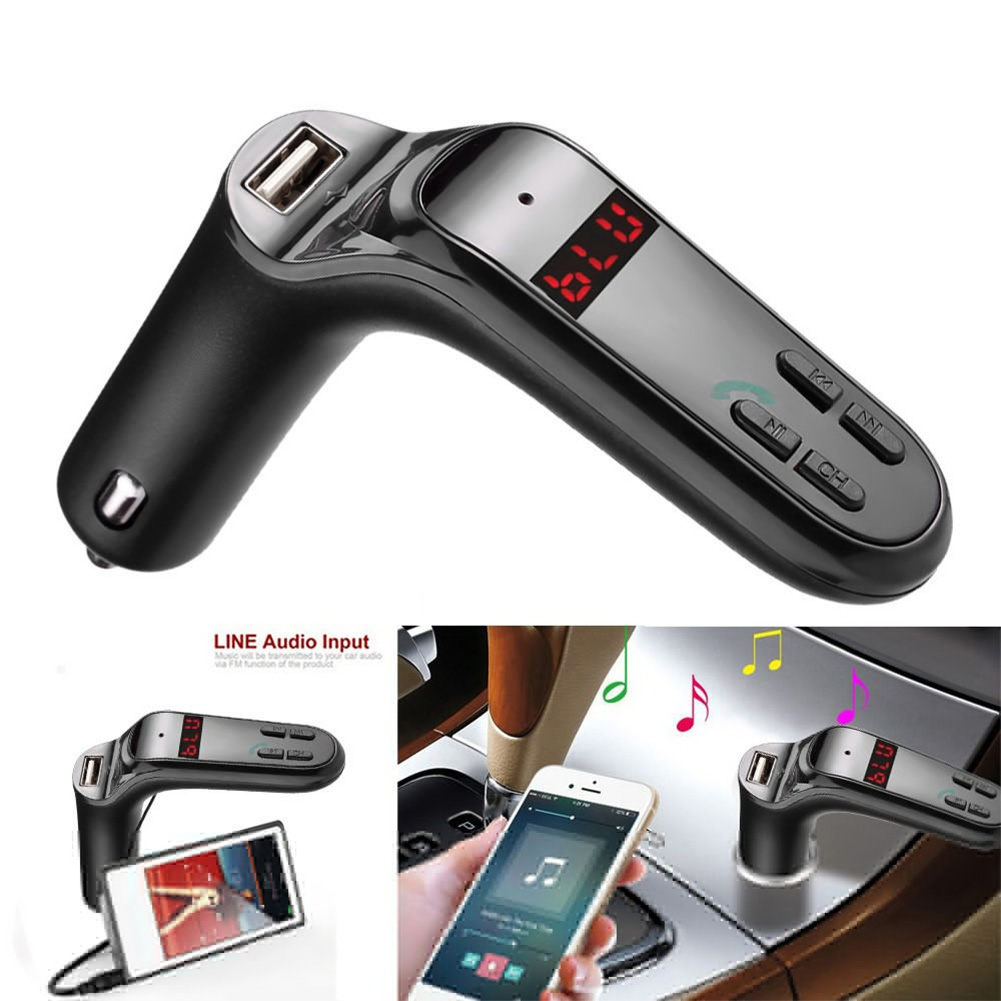 Car Bluetooth Kit Handsfree FM Transmitter Radio MP3 Player USB Charger AUX