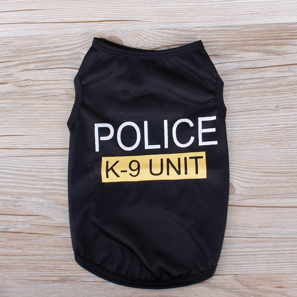 POLICE Patten Cat Small Dog Puppy Vest T-Shirt Pet Clothes Summer Apparel Costumes XS Size