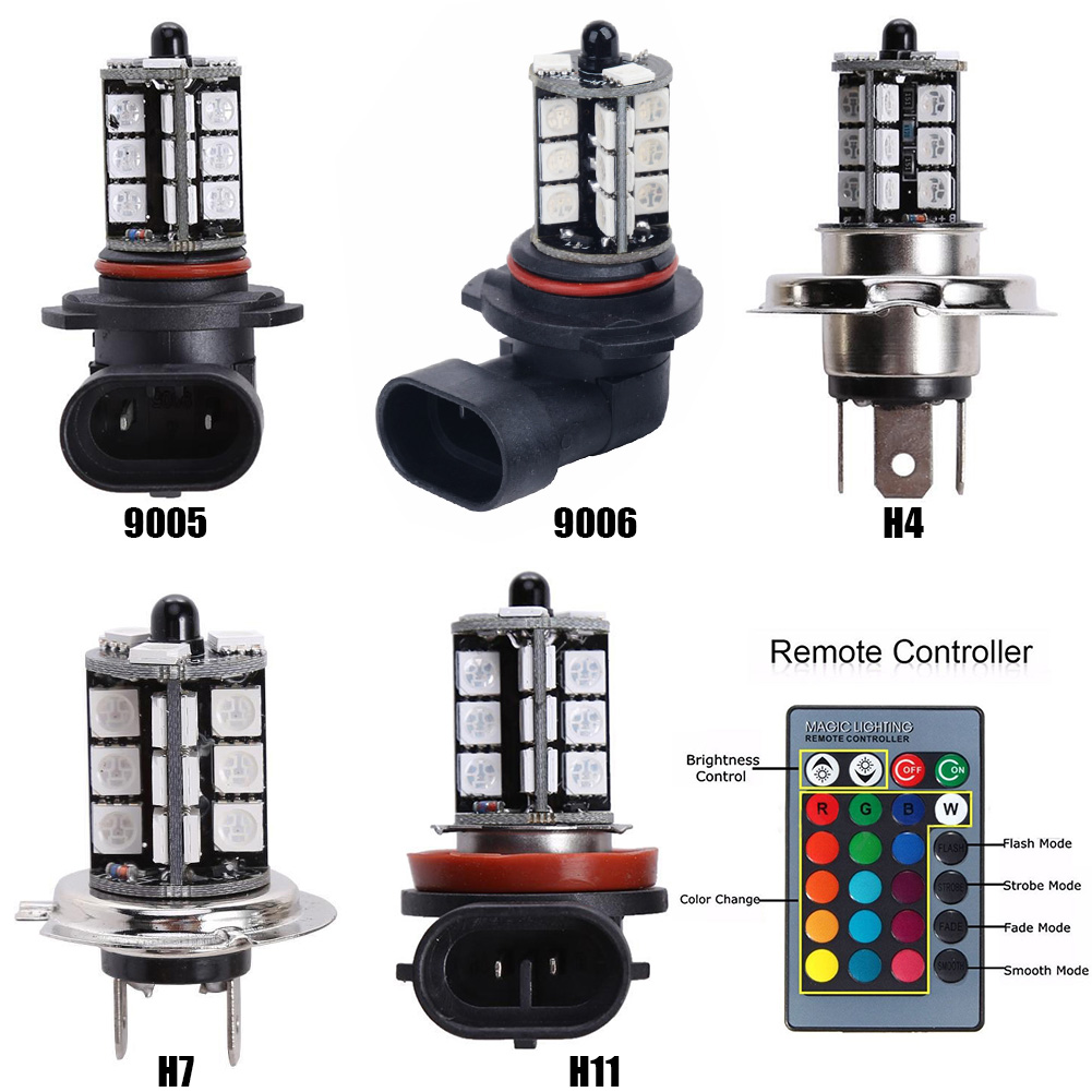 RGB 27LED Colorful H4/H11/9005/9006/H7 Car Remote Control Fog Lights Car Light