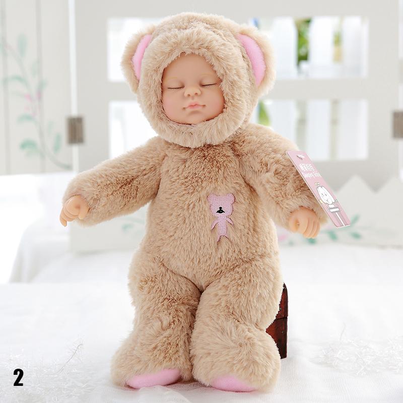 Cute New Reborn Simulation Sleep Baby Doll Baby Bear Shaped Plush Toys Birthday Gift