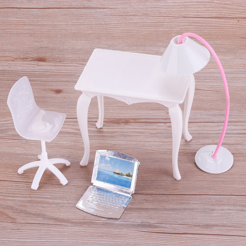 Barbie Doll Play House Doll Furniture Desk Lamp Laptop Chair Accessories
