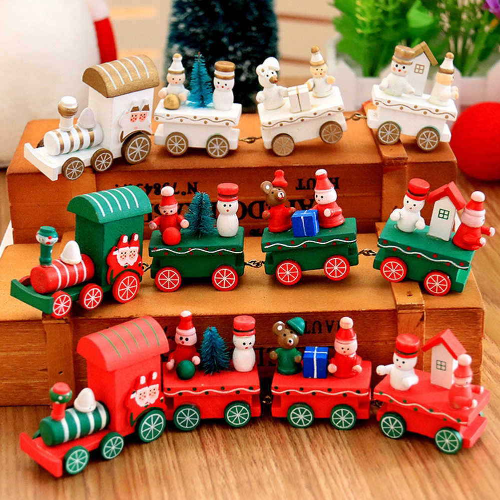 Christmas Cartoons Wooden Four Small Train Decor Fistival Kids Trains Gifts