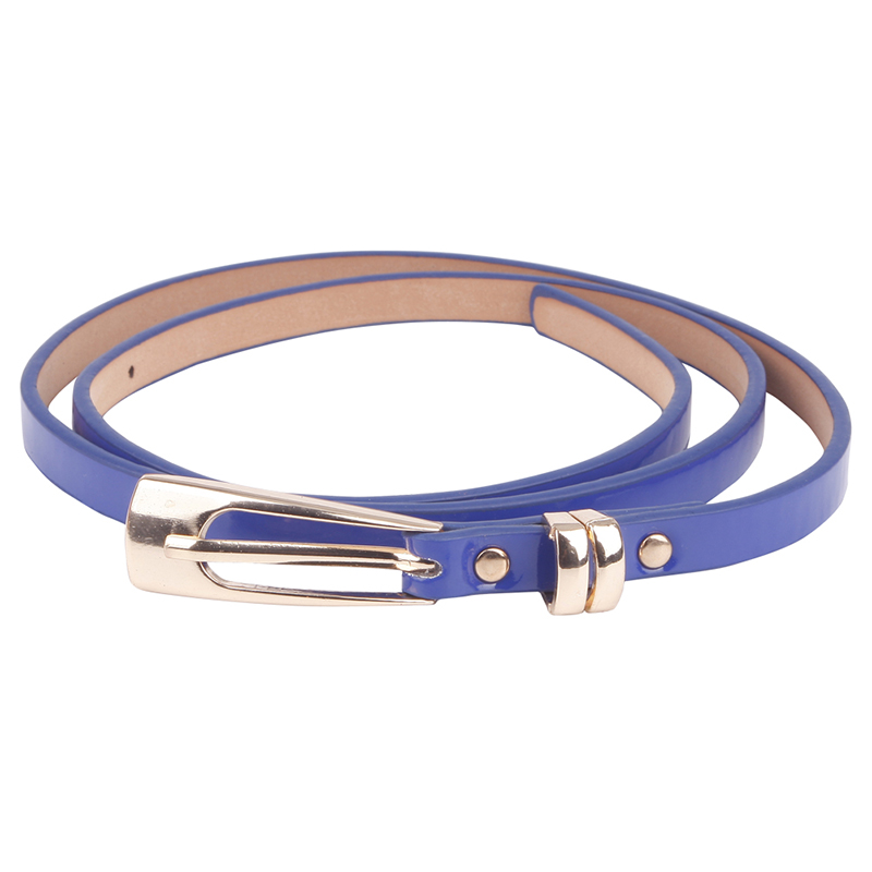 New Hot Fashion Women Multicolor Waistband PU Leather Thin Skinny Buckle Belts