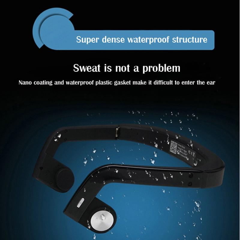 Foldable Bone Conduction Headphone Open Ear Wireless 4.0 Bluetooth Earphone with Mic