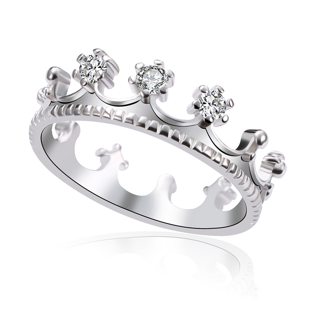 New Gold Silver Plated Crystal Rhinestone Princess Crown Ring Wedding Jewelry Gift