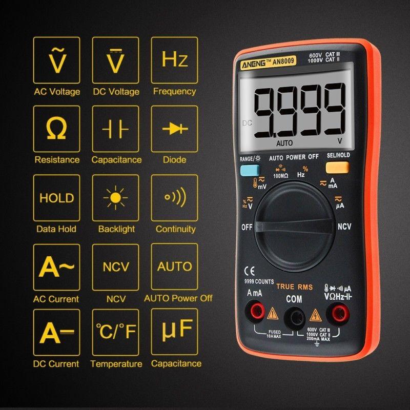 ANENG AN8009 True-RMS Auto Range Digital Meter Multimeter AC/DC Voltage Ammeter