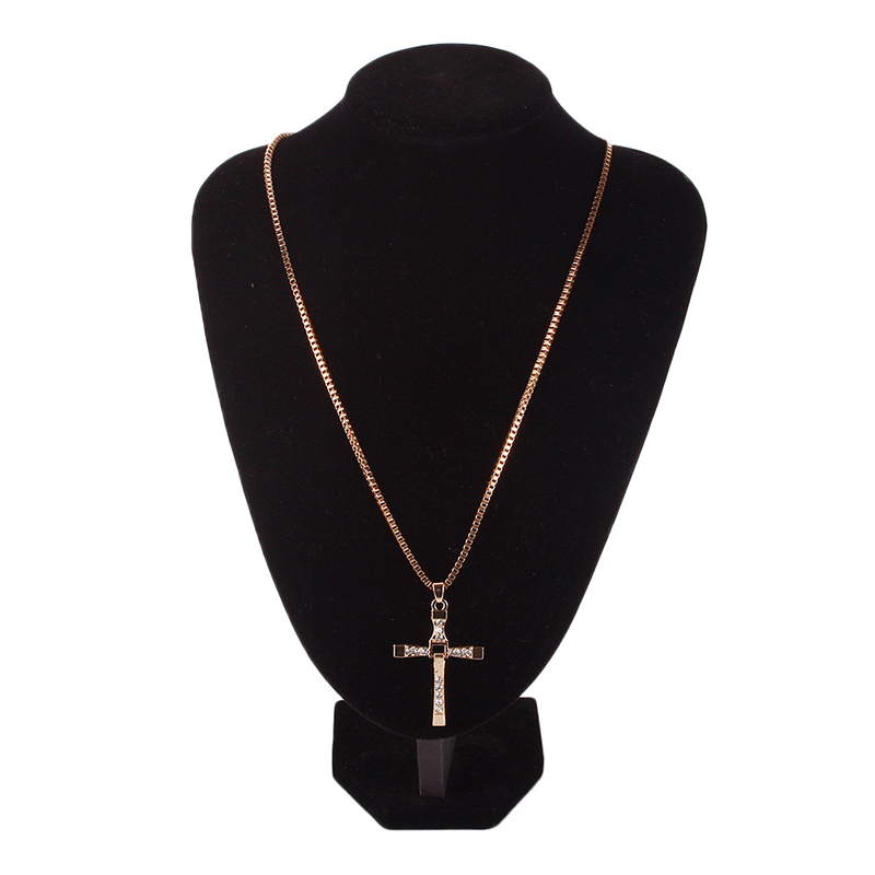 """Fast and Furious Vin Diesel Dominic Toretto's Cross Pendant Rhinestone Necklace Fashion Men Jewelry 24"""""""