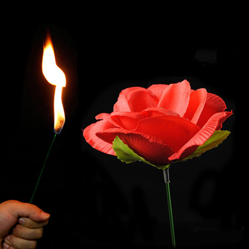 Magic Trick Torch Rose to Fire Stage Close Up Flame Appearing Flower Toys