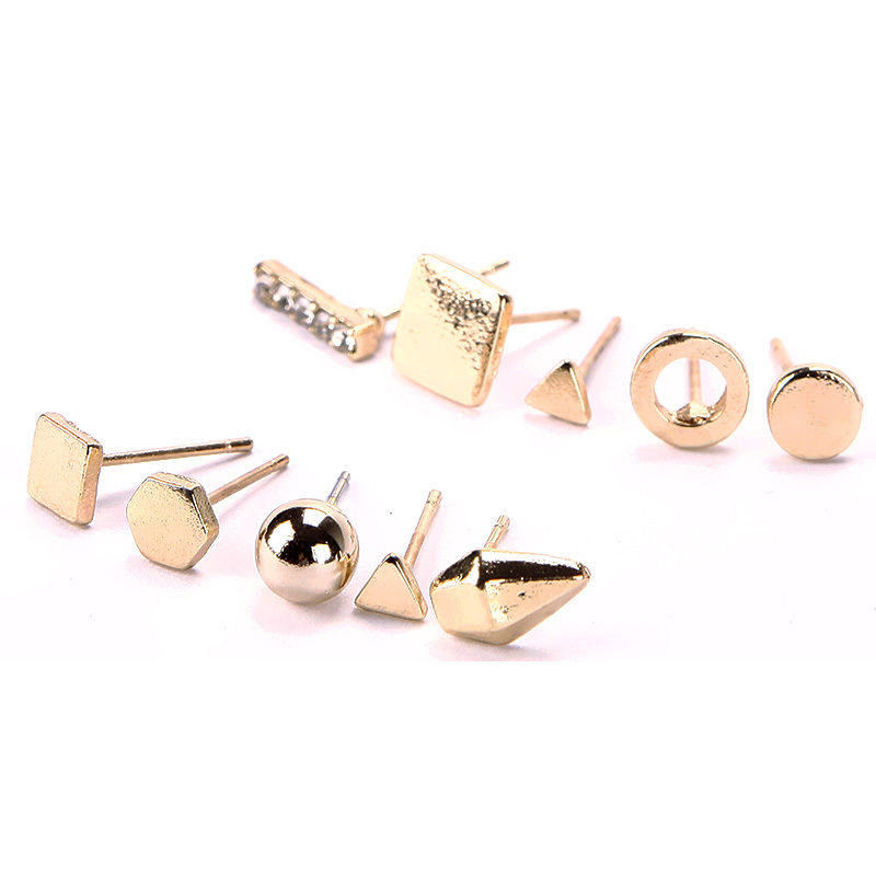 9 Pairs/Set Punk Gold Silver Plate Ear Stud Crystal Square Triangle Round Earrings Jewelry