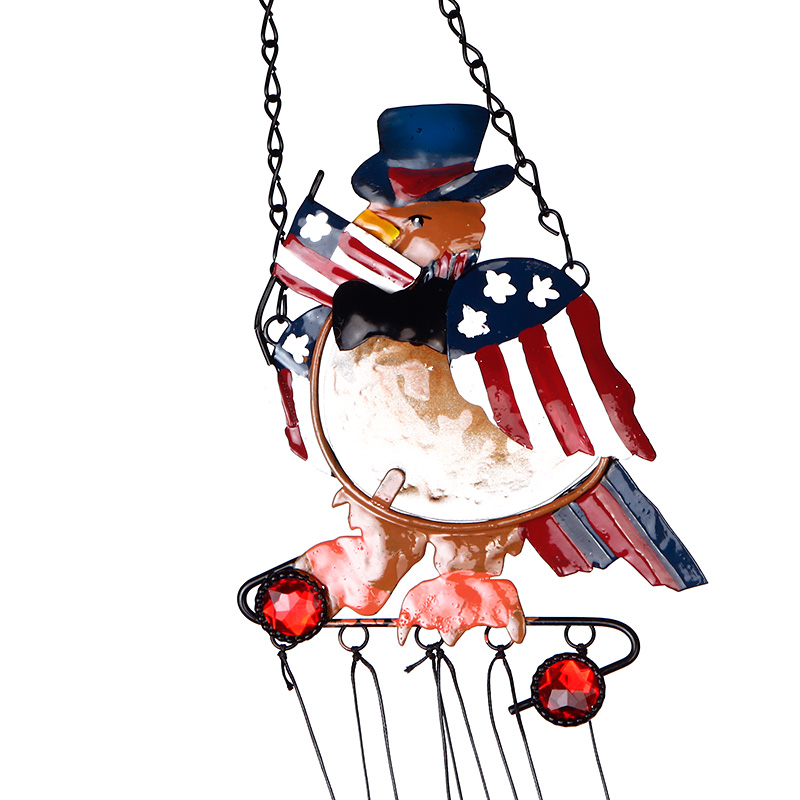 Retro Colorful Eagle Pattern Handmade Iron&Stained Glass Wind Chimes Bell Christmas Decor Beautiful
