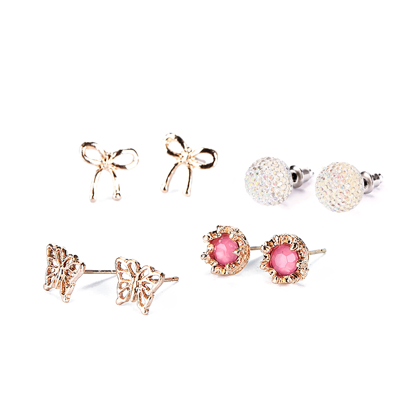 20 Pairs/Set Gold Silver Plate Ear Stud Crystal Rhinestones Flower Love Heart Pearl Earrings Women Jewelry Hot