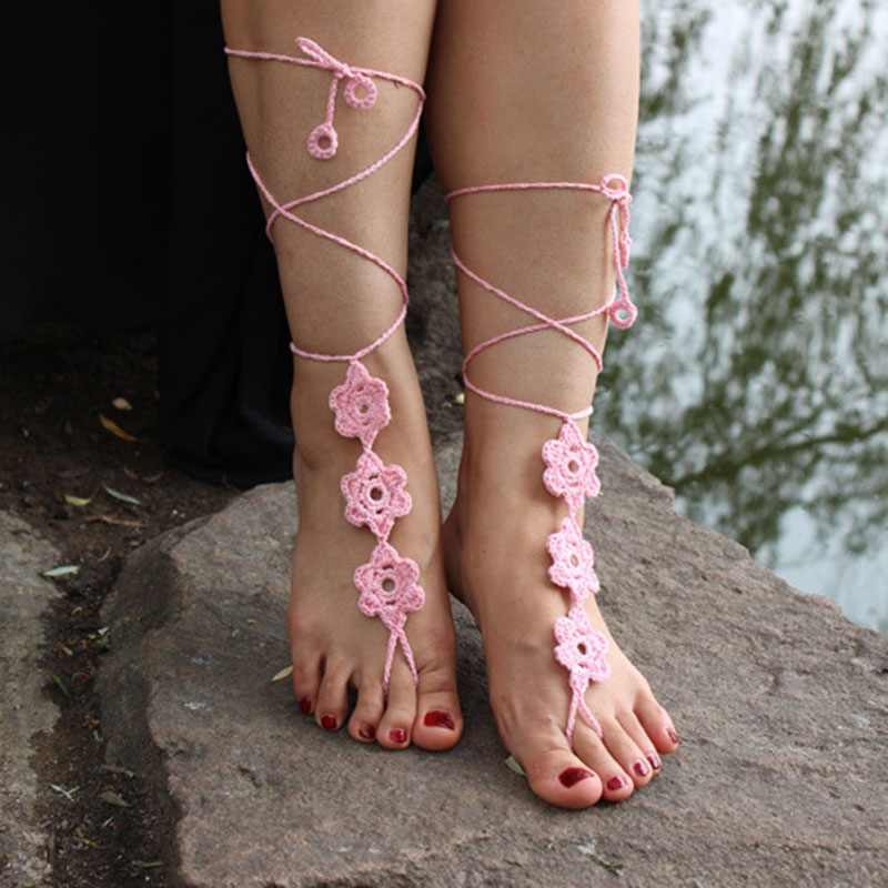 1 Pair Barefoot Sandals Beach Wedding Crochet Knit Anklet Foot Chain