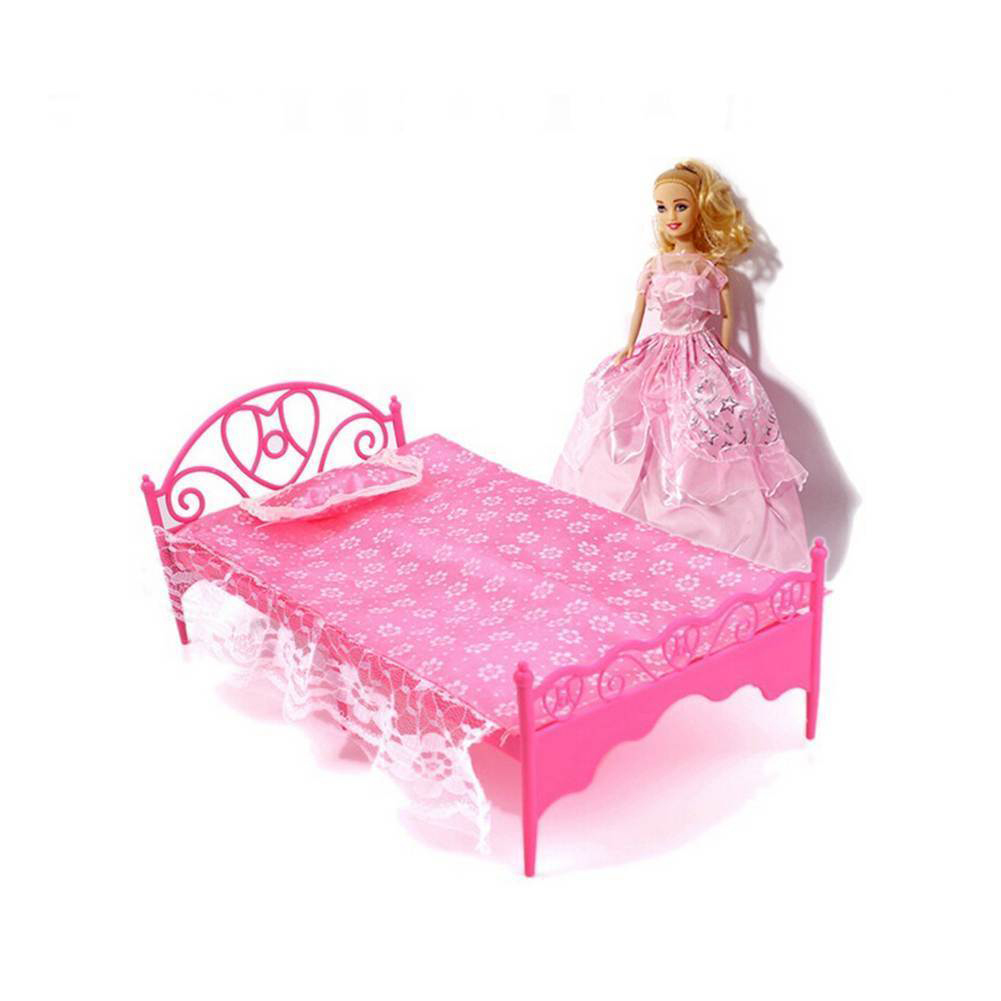 Kids Doll Accessories Bedroom Furniture Bed Dollhouse Toy Set for Barbie Doll