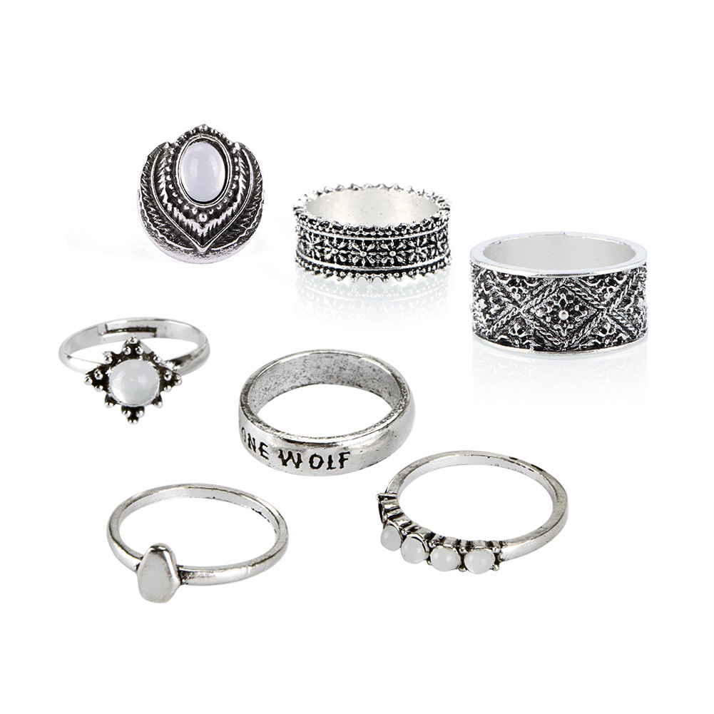 7Pcs/Set Bohemian Retro Sliver Plated Knuckle Ring Opal Gem Carved Midi Ring Jewelry
