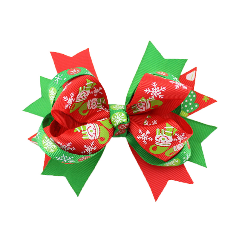 Kids Girls Christmas Bowknot Hairpins Hair Bows Clips Snowflake Barrette Baby Xmas Gift Green Red
