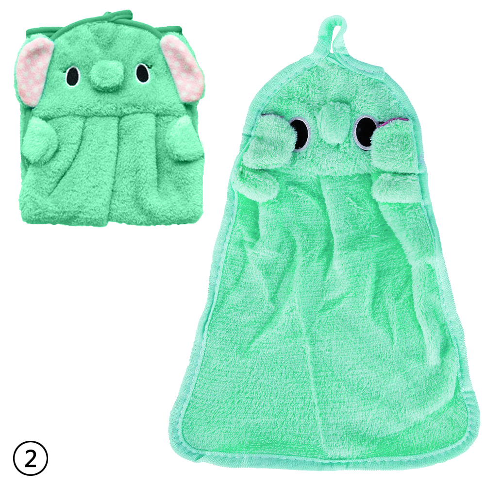 Cartoon Animal Kitchen Hand Towel Bath Hanging Wipe Soft Towel