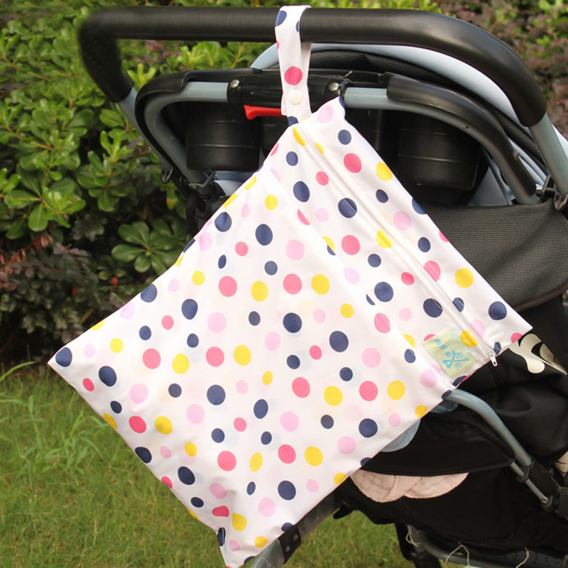 Double Zipper Diaper Baby Nappy Bag Washable Wet Dry Cloth Infant Bag