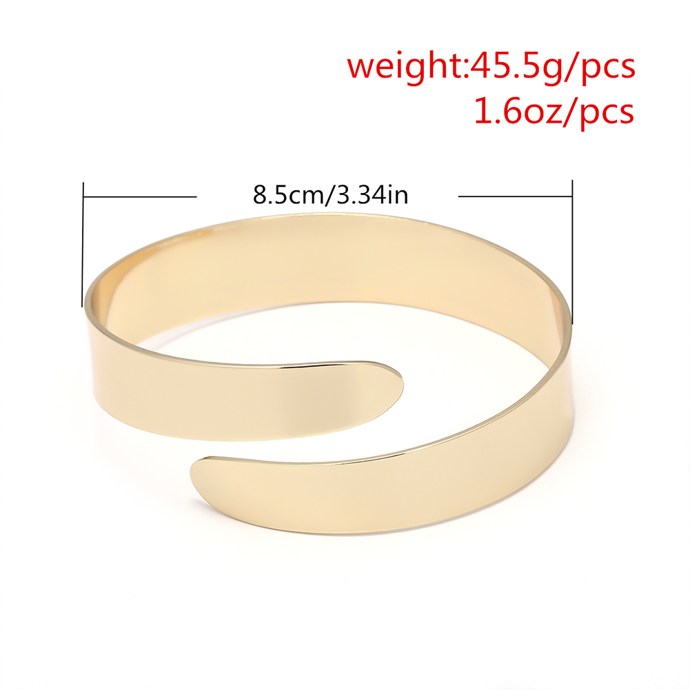 Retro Vintage Women Silver Gold Plated Simple Wide Open Cuff Arm Ring Armlet Bangle Bracelet Armband Jewelry