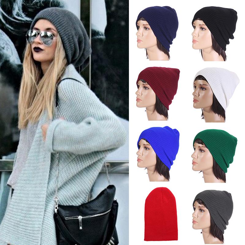 Trendy Women Men Unisex Warm Lady Winter Knitted Hat Baggy Beanie Hip-hop Solid Color Cap