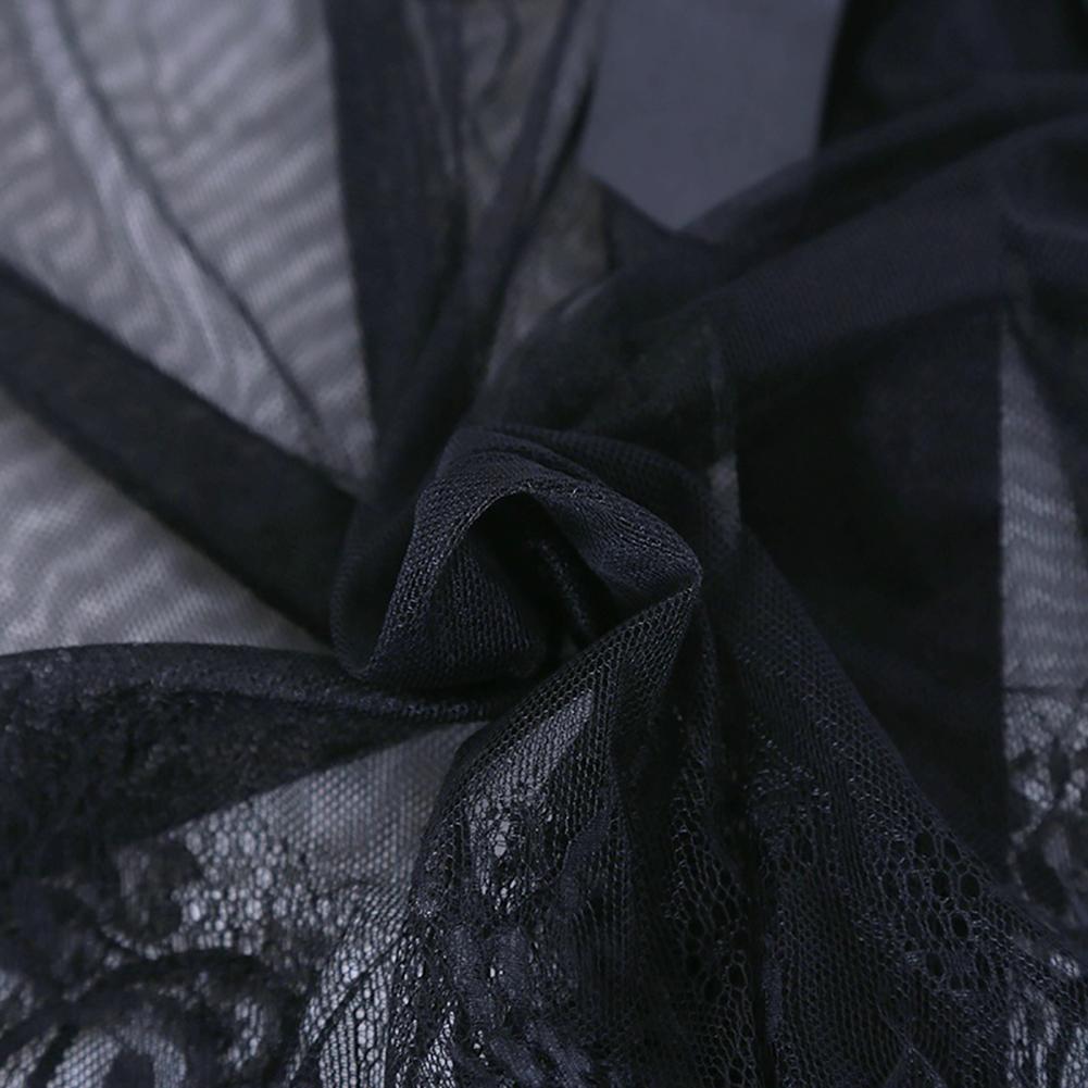 Lace Patchwork Spaghetti Strap Transaprent Sexy Nightgown Pajamas Lingerie Set Sleepwear