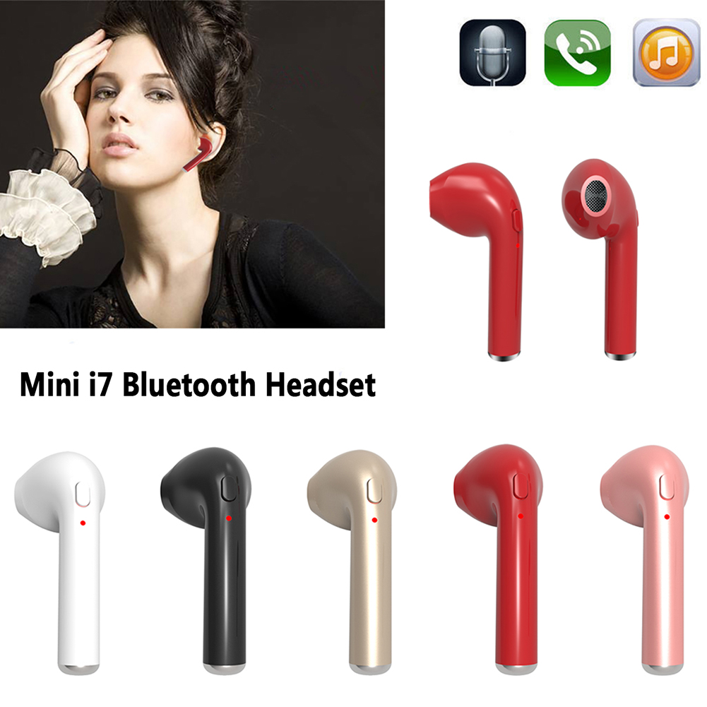 I7 Mini Wireless Bluetooth Headset Headphone Stylish Sports Stereo Music Earphone For iPhone Smart Phones