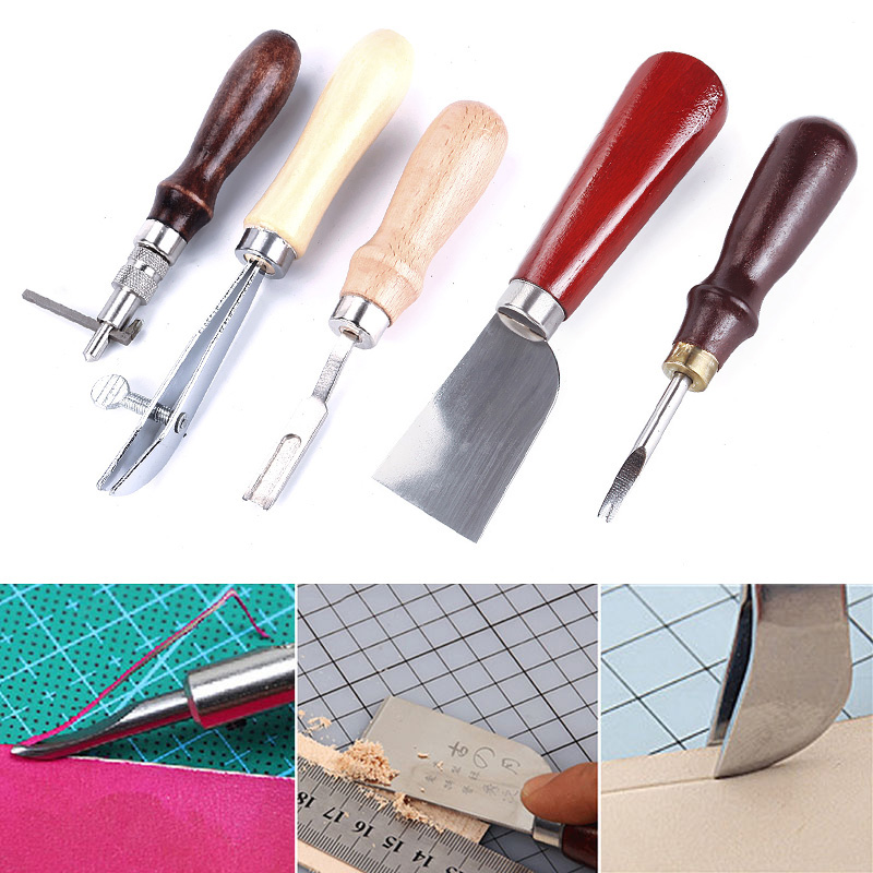 18pcs Leather Craft Punch Tools Kit Stitching Carving Working Sewing Saddle Groover Tool
