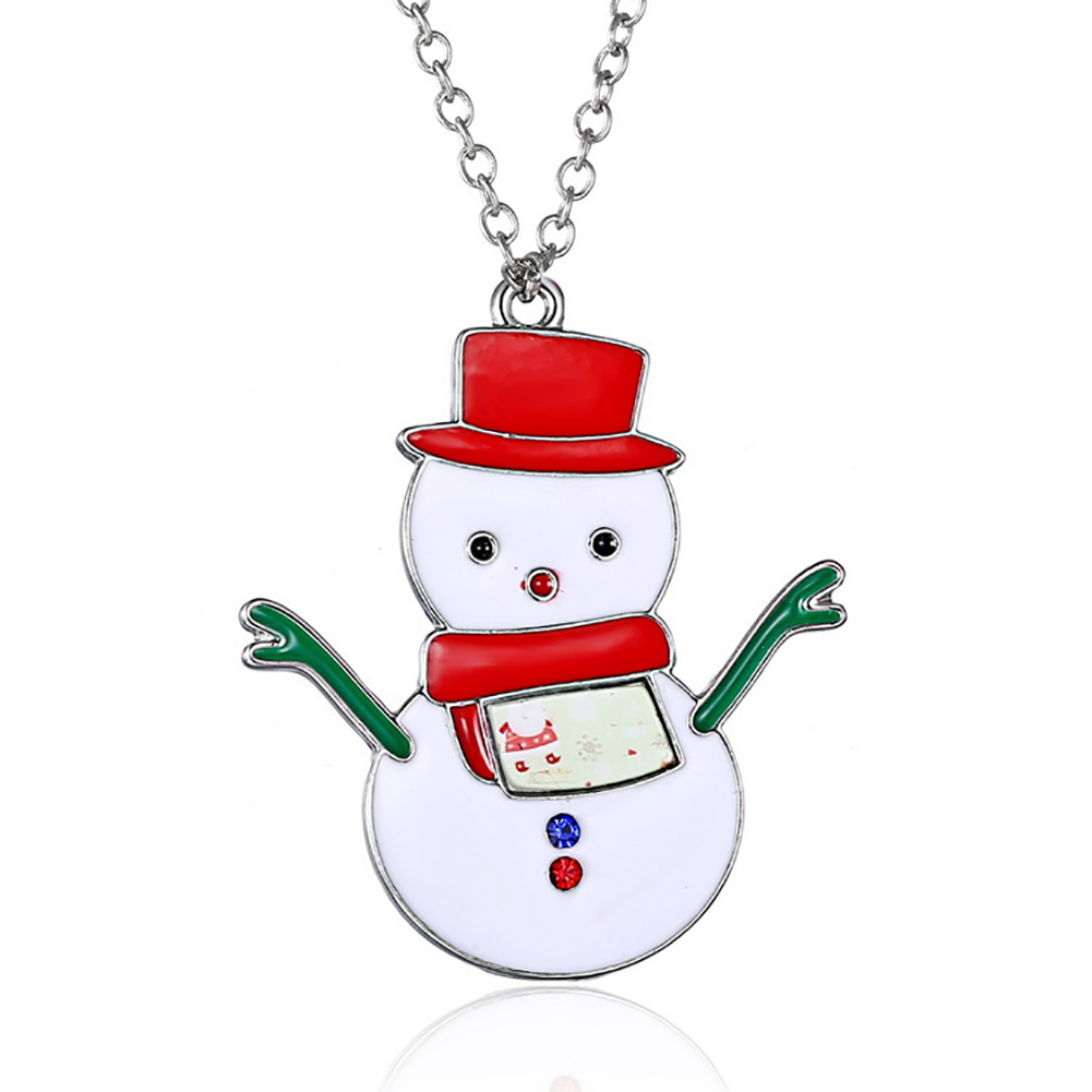 Christmas Santa Claus Snowman Socks Tree Deer Pendant Silver Chain Necklace Jewelry Gift