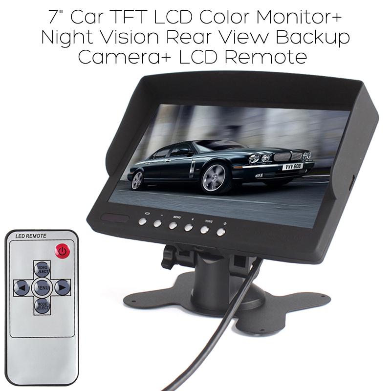 """7"""" Car TFT LCD Color Monitor+ Night Vision Rear View Backup Camera+ LCD Remote"""