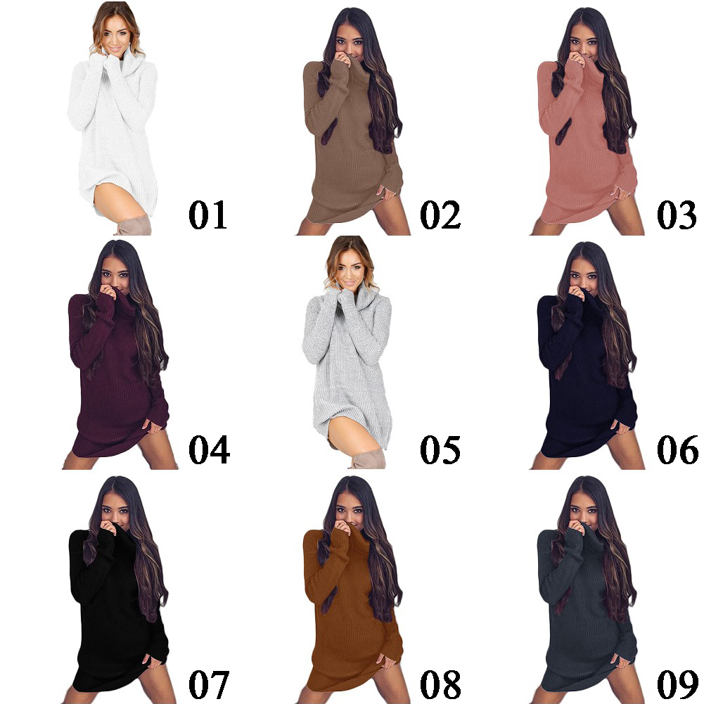 Fashion Womens Ladies Cowl Neck Loose Long Sleeve Oversize Sweater Jumper Shirt Tops Dress