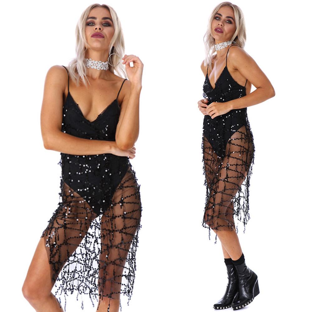 2017 New Women Casual Summer Short Cocktail Party Evening Bodycon Sleeveless Mini Sequin Deep V Dress