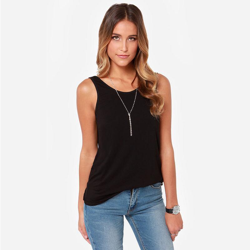 Summer Women Deep-V Backless T-Shirts Tank Top Sexy Vest Shirts Elastic Cotton