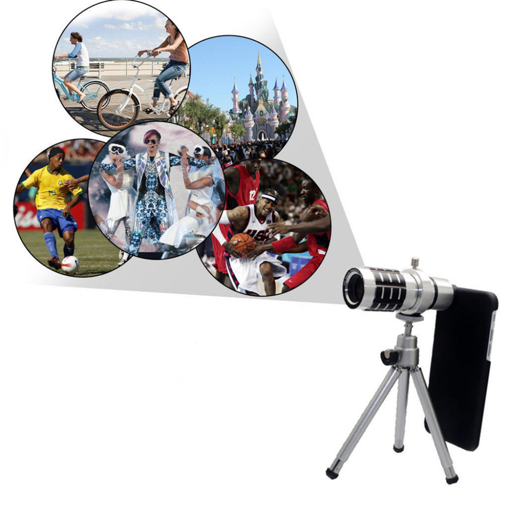 4 in 1 12X Zoom Mobile Camera Telephoto Lens + Mount Tripod Kits For iPhone Samsung