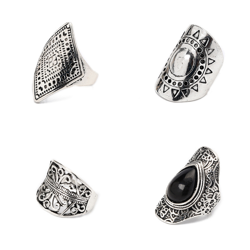 4Pcs/Set Vintage Silver Gypsy Boho Ethnic Ring Hollow Carved Gem Diamond Midi Knuckle Rings Women Jewelry