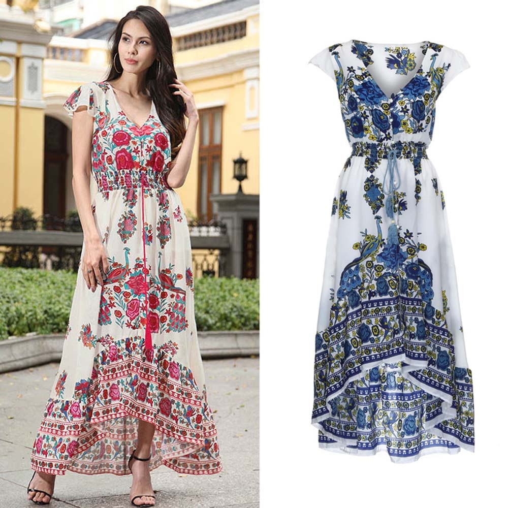 Women Print Floral Retro Palace V-Neck Evening Party Dress women dresses evening party summer H8