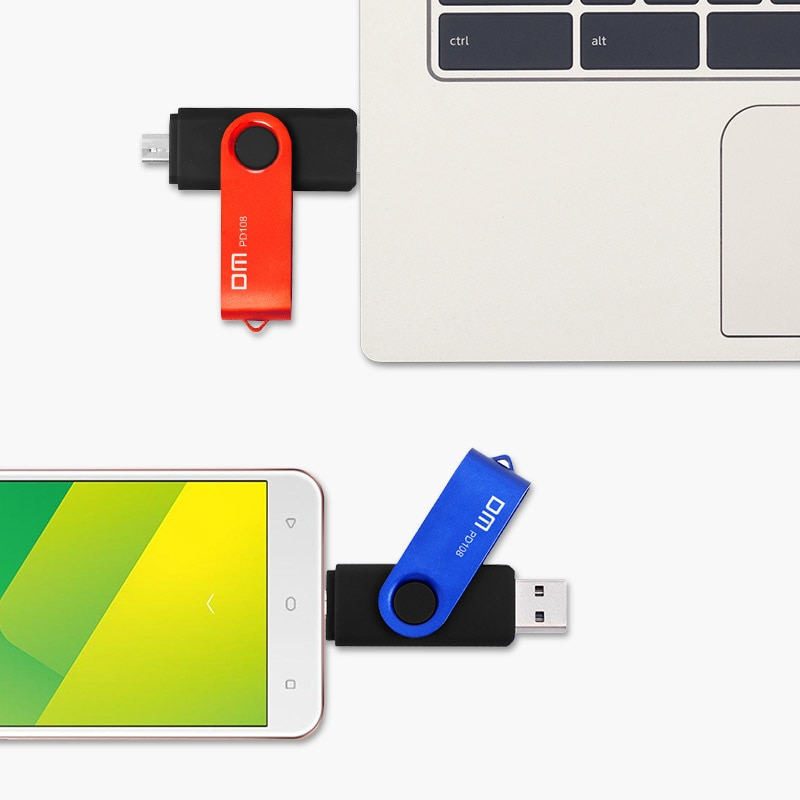 DM PD108 8GB 16GB 32GB OTG USB2.0 with double connector used for OTG smart phone and computer